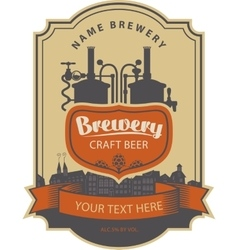 label beer with brewery vector image