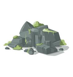 Grey stones and rocks cartoon nature vector