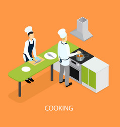 Isometric restaurant people cooking template vector