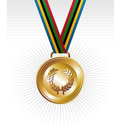 Gold medal with ribbons background vector