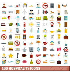 100 hospitality icons set flat style vector