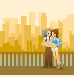 young couple of backpackers planning the route vector image
