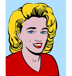 Blond pop art woman vector