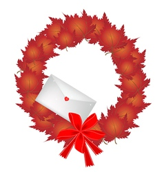 Christmas wreath of red maple leaves and envelope vector
