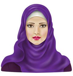 Girl in violet hijab vector