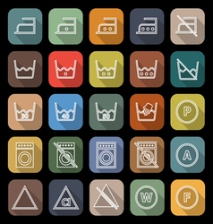 Laundry line flat icons with long shadow vector