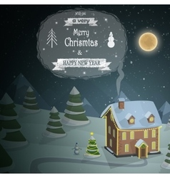 Christmas evening landscape vector