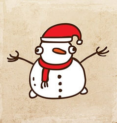 Happy snowman cartoon vector