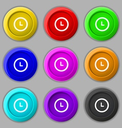 Clock icon sign symbol on nine round colourful vector