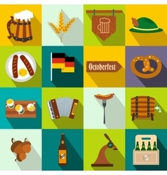 Oktoberfest party flat icons vector