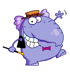 Happy purple elephant vector