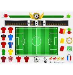 Soccer field and football apparel vector