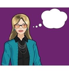 Caucasian Businesswoman pop art comic vector image