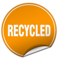 Recycled round orange sticker isolated on white vector