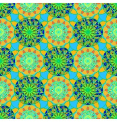 Abstract mandala seamless pattern in green and vector image vector image