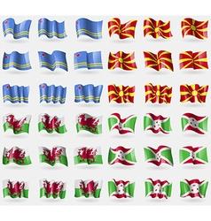 Aruba macedonia wales burundi set of 36 flags of vector