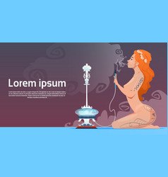 attractive girl smoking hookah pipe vector image