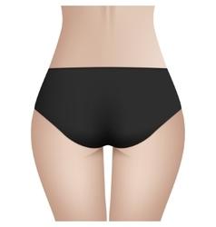 Beautiful woman s body in black bikini panties vector