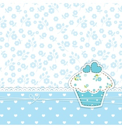 Blue background with cupcake vector