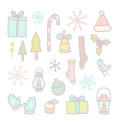 Christmas and New year hand drawn objects vector image