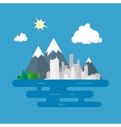 City against mountains vector