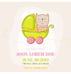 Cute baby girl cat in a carriage - baby shower vector