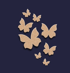 Dark background with butterflies made in carton vector image vector image
