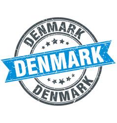 Denmark blue round grunge vintage ribbon stamp vector