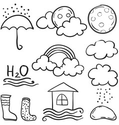 Doodle of weather with cloud various set vector