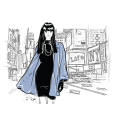 fashion woman in sketch style with black cat vector image