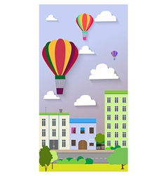 Flat design of the city street and air balloons vector image