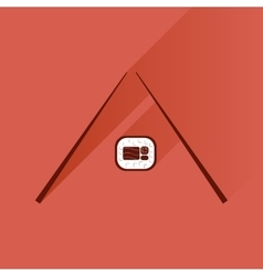 Flat with shadow icon sushi and chopsticks vector