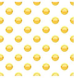 Gold circle metal badge pattern vector