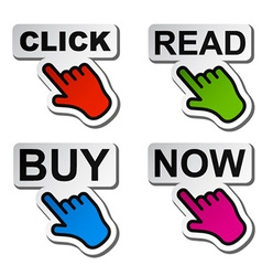 Hand pointing to the word stickers vector