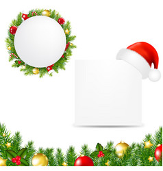 Happy christmas banner with santa hat vector