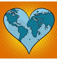 Heart earth planet vector