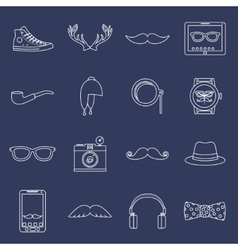 Hipster icons set outline vector image vector image