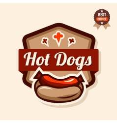 hot dog emblem vector image