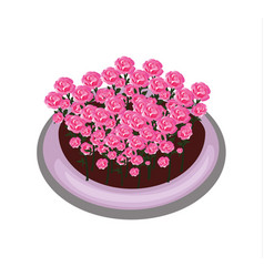 Isometric cartoon flower bush bed with red roses vector