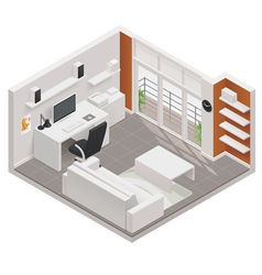 isometric working room icon vector image vector image