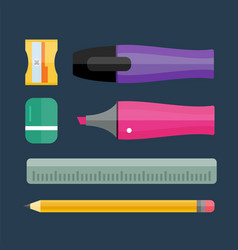 paint and writing tools collection flat style vector image vector image