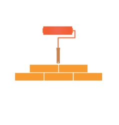 Paint roller and bricklaying concept vector