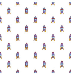 Purple toy rocket pattern vector