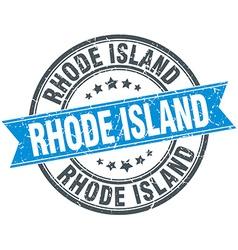 Rhode island blue round grunge vintage ribbon vector
