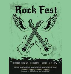 rock fest party announcement poster design vector image
