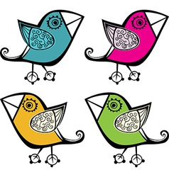 set of four cute bird elements for your design vector image