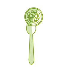 Silhoutte fresh slice cucumber in the fork utensil vector