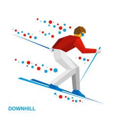 Skier running downhill vector