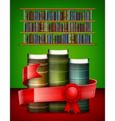 Stack of books on color vector image