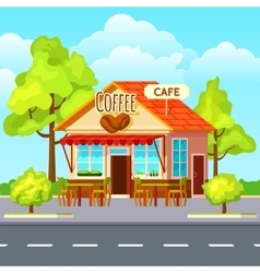 Street coffee outdoors composition vector